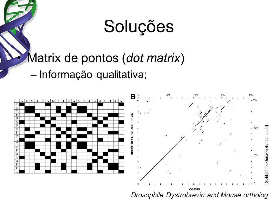 Soluções Matrix de pontos (dot matrix) Informação qualitativa;
