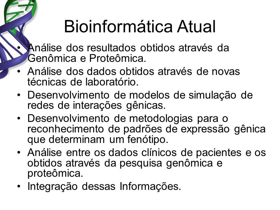 Bioinformática Atual Análise dos resultados obtidos através da Genômica e Proteômica.