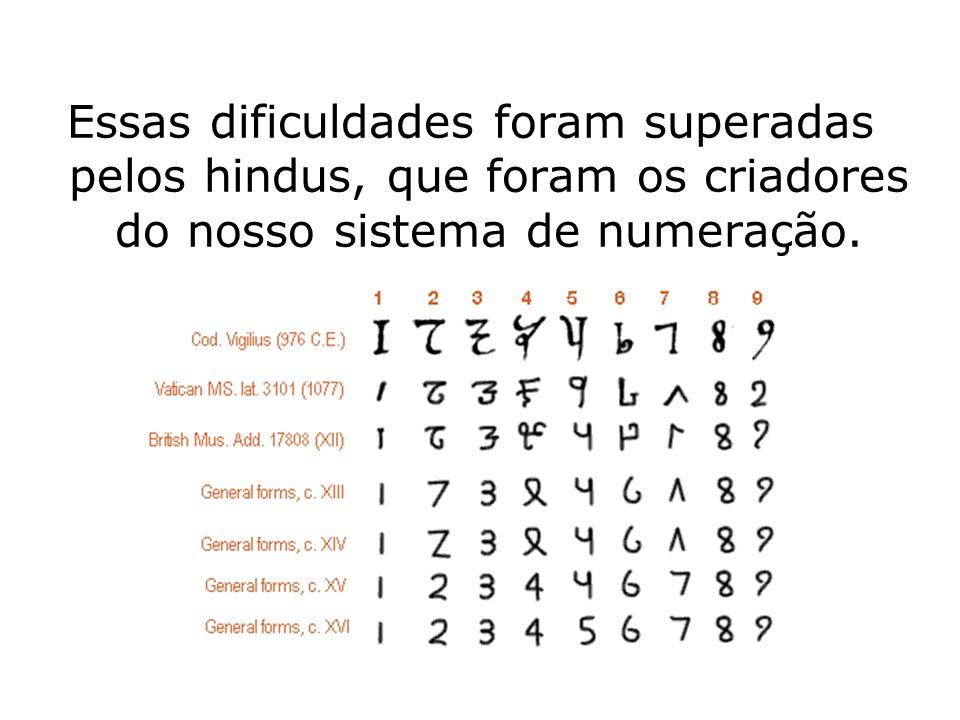Essas dificuldades foram superadas pelos hindus, que foram os criadores do nosso sistema de numeração.
