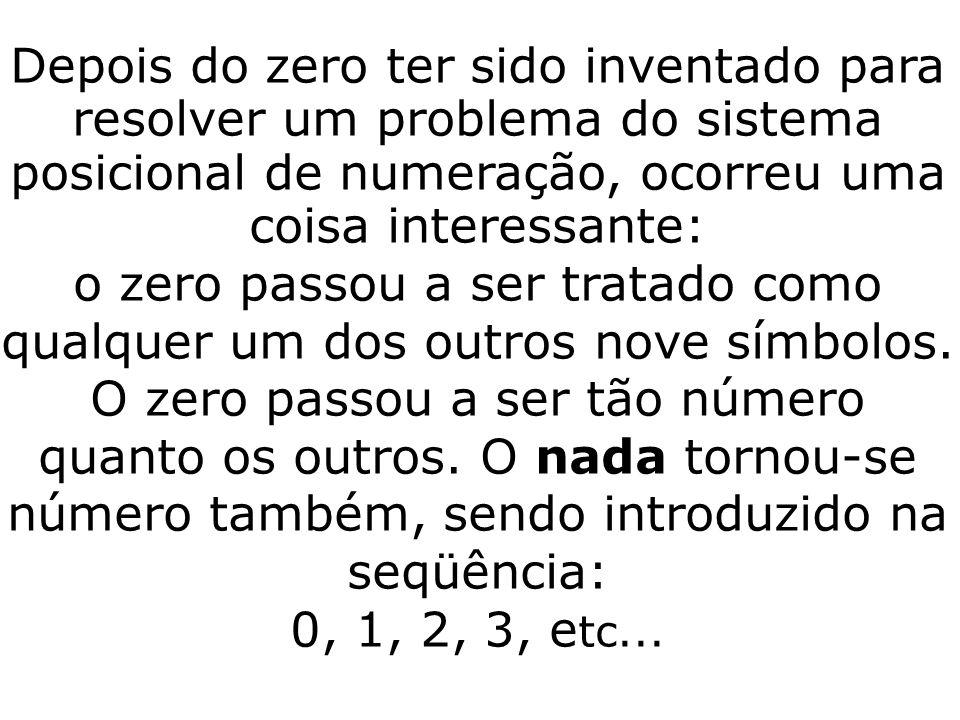 o zero passou a ser tratado como qualquer um dos outros nove símbolos.