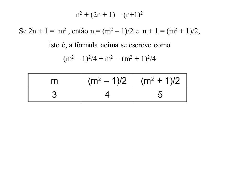 m (m2 – 1)/2 (m2 + 1)/2 3 4 5 n2 + (2n + 1) = (n+1)2