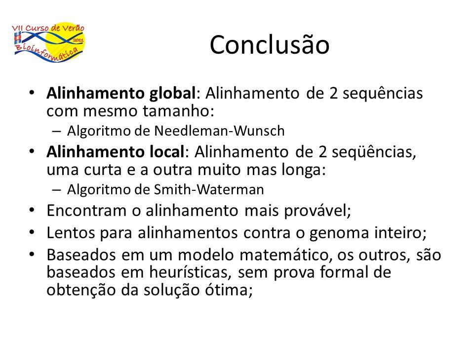 Conclusão Alinhamento global: Alinhamento de 2 sequências com mesmo tamanho: Algoritmo de Needleman-Wunsch.