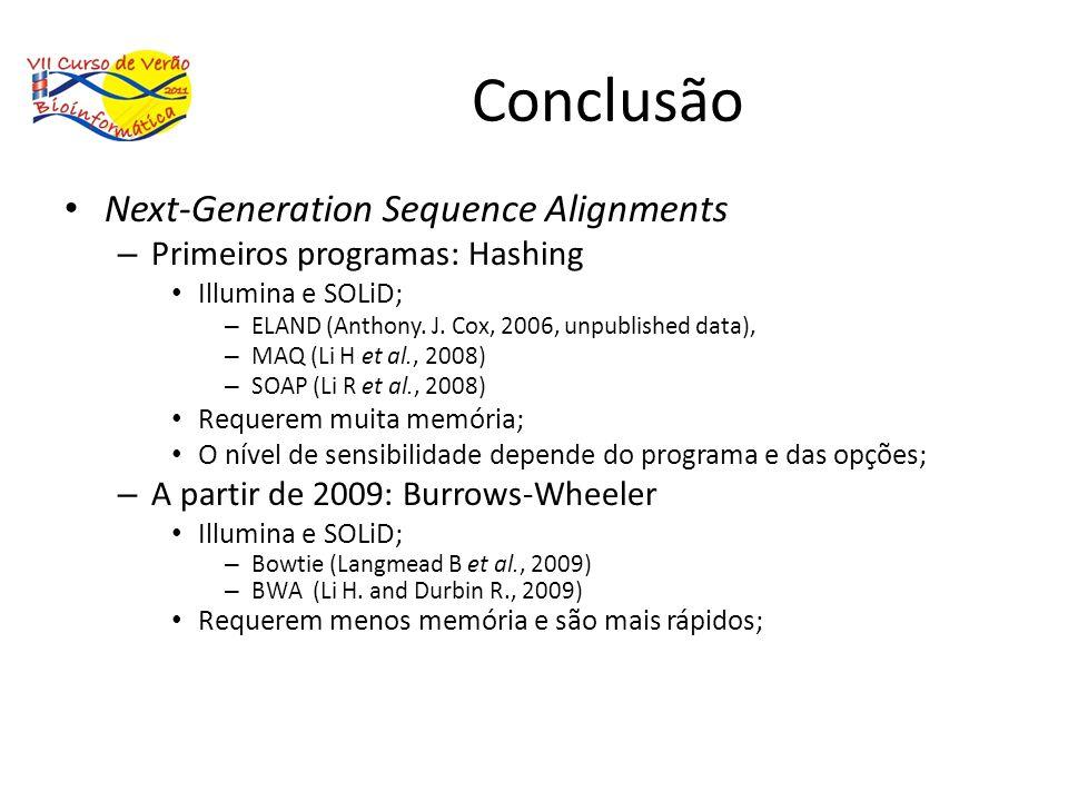Conclusão Next-Generation Sequence Alignments