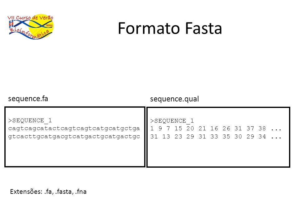 Formato Fasta sequence.fa sequence.qual Extensões: .fa, .fasta, .fna