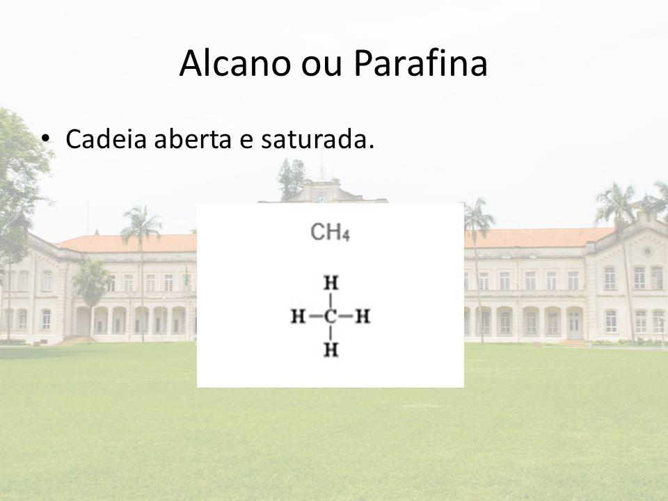 Alcano ou Parafina Cadeia aberta e saturada.
