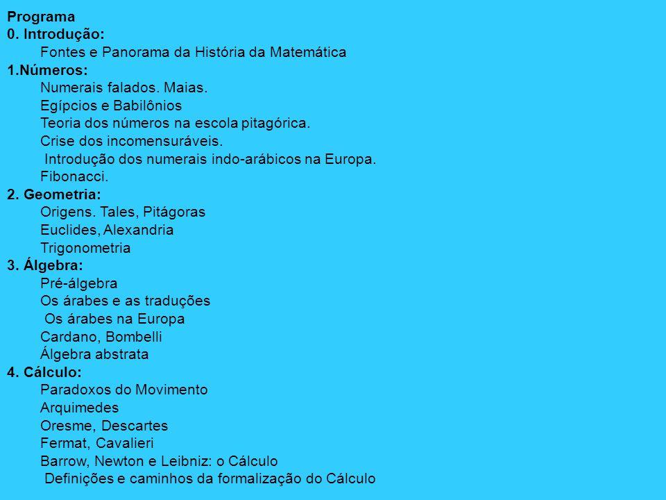 Programa 0. Introdução: Fontes e Panorama da História da Matemática. 1.Números: Numerais falados. Maias.