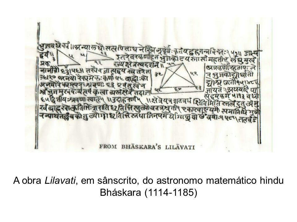 A obra Lilavati, em sânscrito, do astronomo matemático hindu