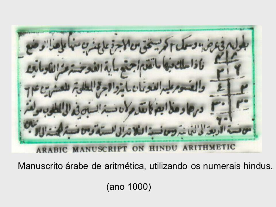 Manuscrito árabe de aritmética, utilizando os numerais hindus.