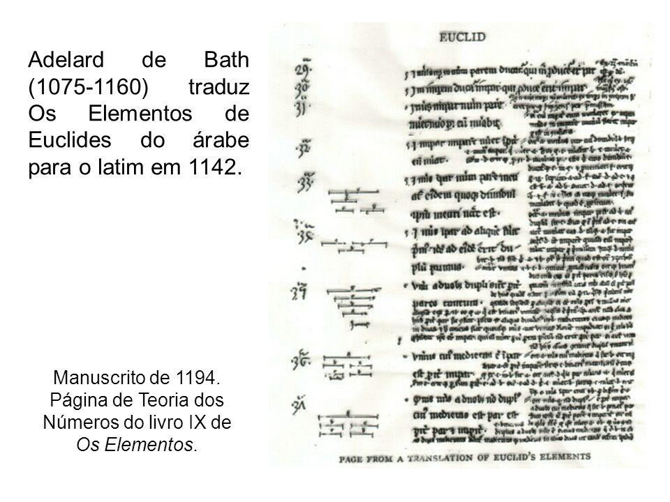 Página de Teoria dos Números do livro IX de Os Elementos.