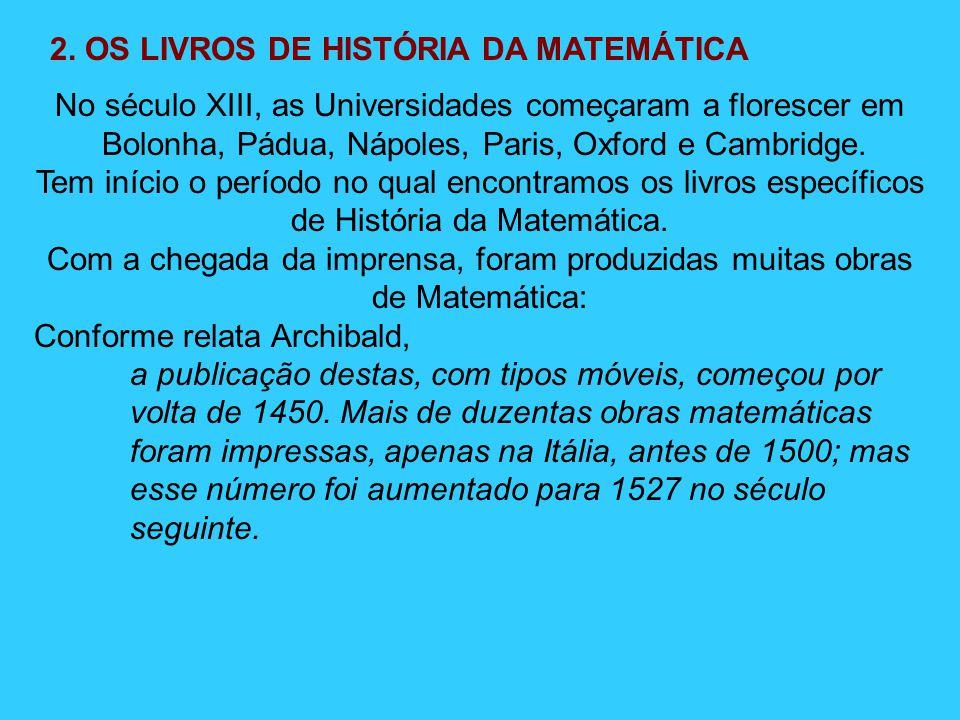 2. OS LIVROS DE HISTÓRIA DA MATEMÁTICA