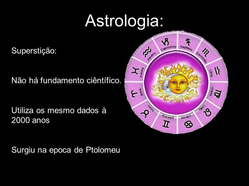 Astrologia: Superstição: Não há fundamento ciêntífico.