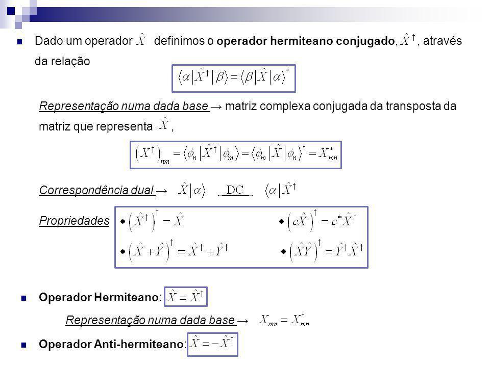 Dado um operador definimos o operador hermiteano conjugado, , através da relação