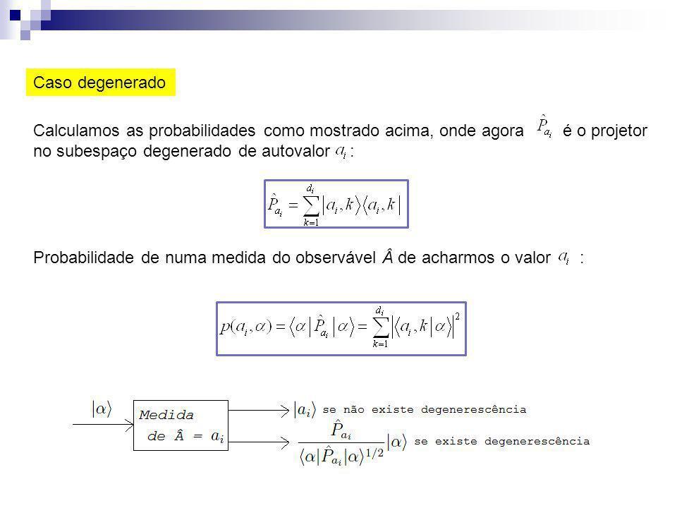 Caso degenerado Calculamos as probabilidades como mostrado acima, onde agora é o projetor no subespaço degenerado de autovalor :