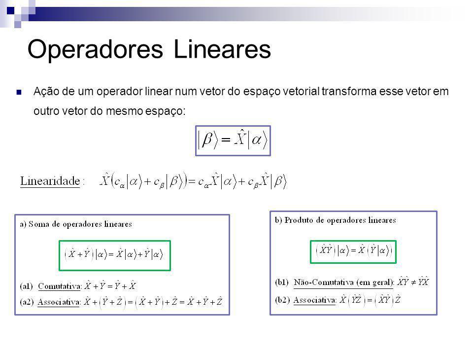 Operadores Lineares Ação de um operador linear num vetor do espaço vetorial transforma esse vetor em outro vetor do mesmo espaço: