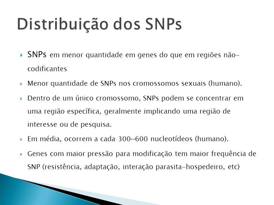 Distribuição dos SNPs SNPs em menor quantidade em genes do que em regiões não- codificantes.
