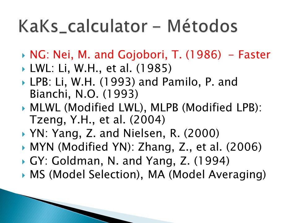 KaKs_calculator - Métodos