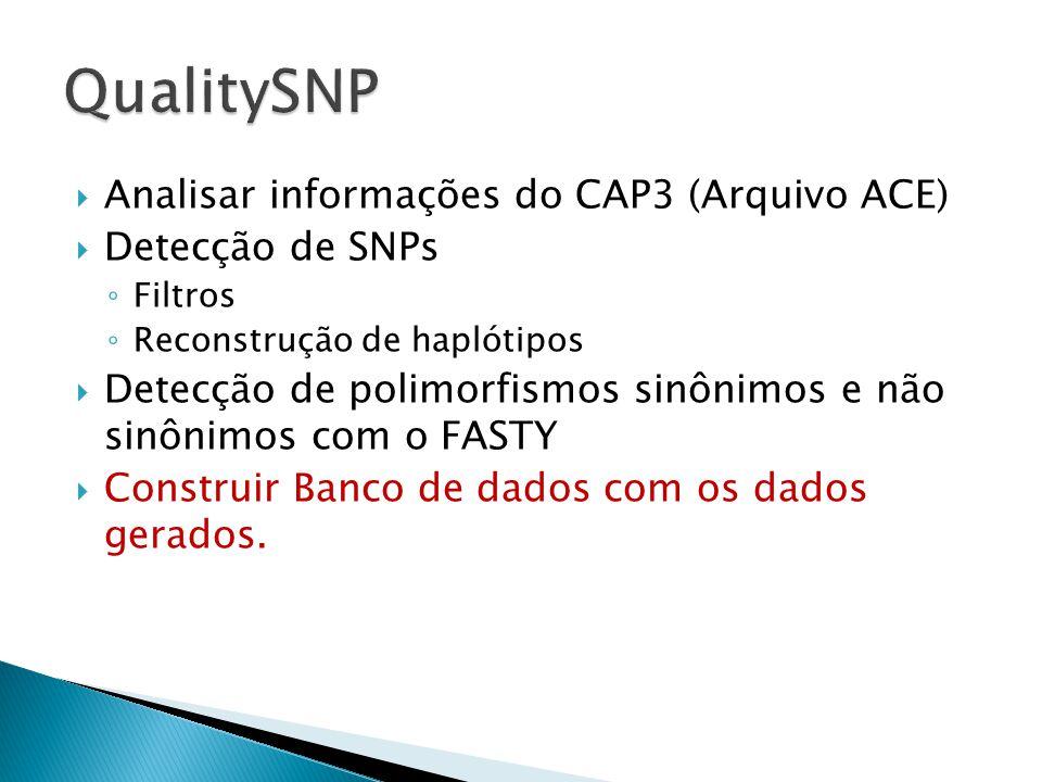 QualitySNP Analisar informações do CAP3 (Arquivo ACE) Detecção de SNPs