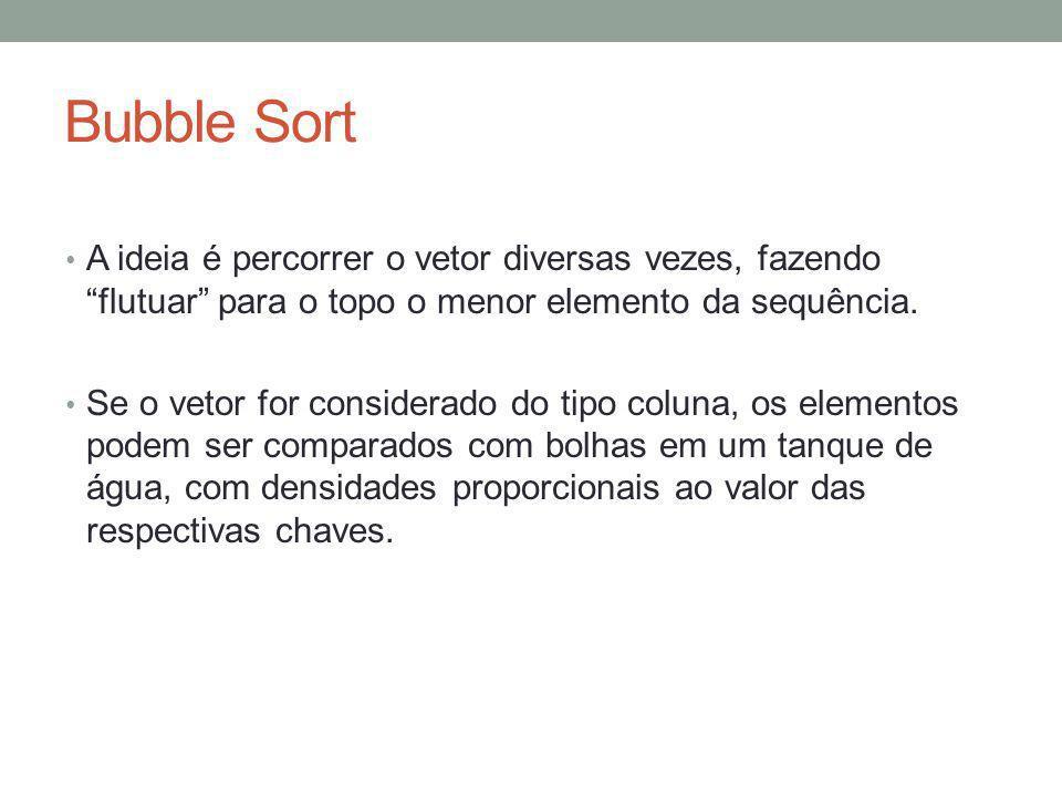 Bubble Sort A ideia é percorrer o vetor diversas vezes, fazendo flutuar para o topo o menor elemento da sequência.