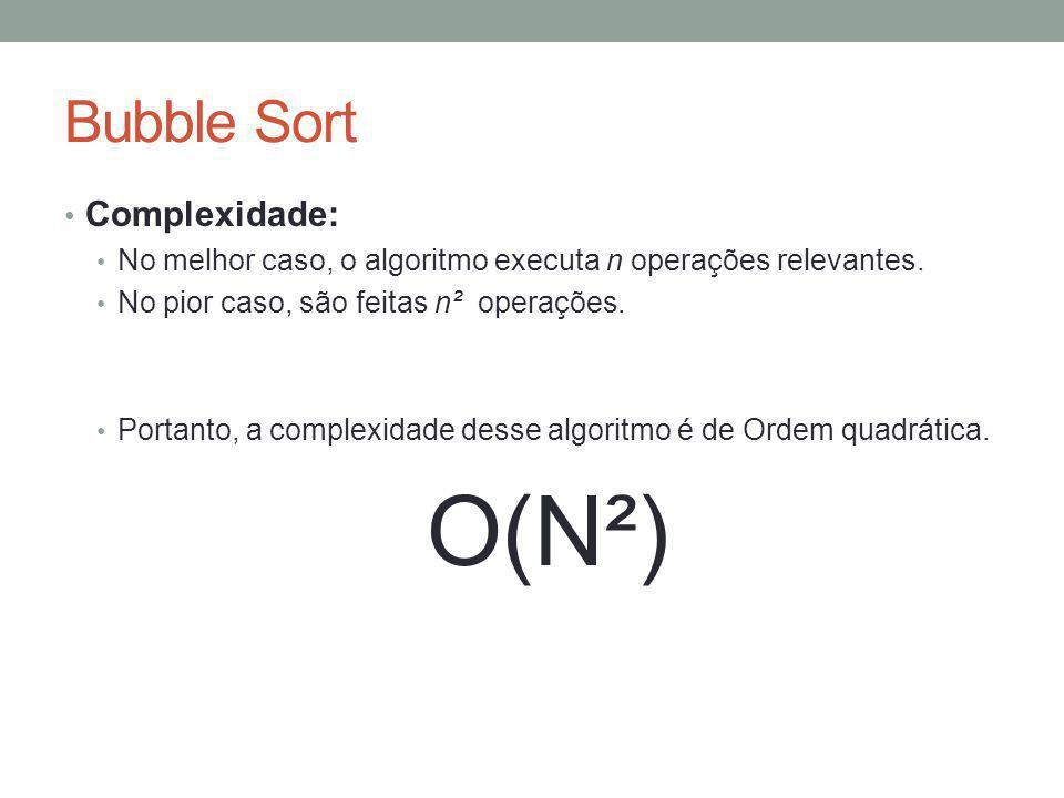 O(N²) Bubble Sort Complexidade: