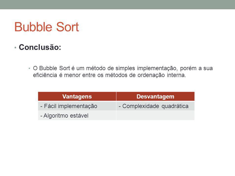 Bubble Sort Conclusão: