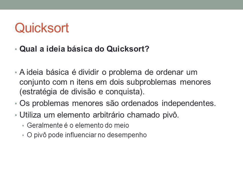 Quicksort Qual a ideia básica do Quicksort