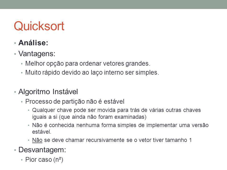 Quicksort Análise: Vantagens: Algoritmo Instável Desvantagem: