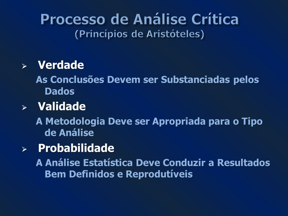 Processo de Análise Crítica (Princípios de Aristóteles)