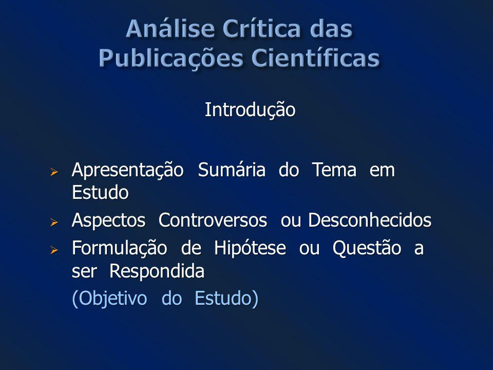 Análise Crítica das Publicações Científicas