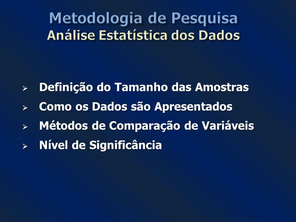 Metodologia de Pesquisa Análise Estatística dos Dados