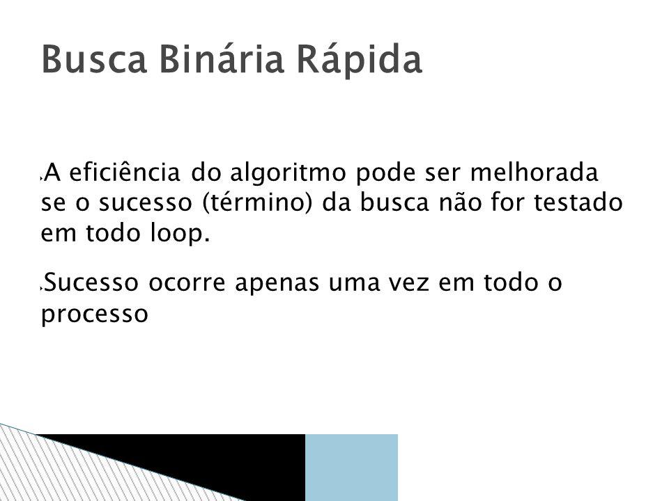 Busca Binária Rápida A eficiência do algoritmo pode ser melhorada se o sucesso (término) da busca não for testado em todo loop.