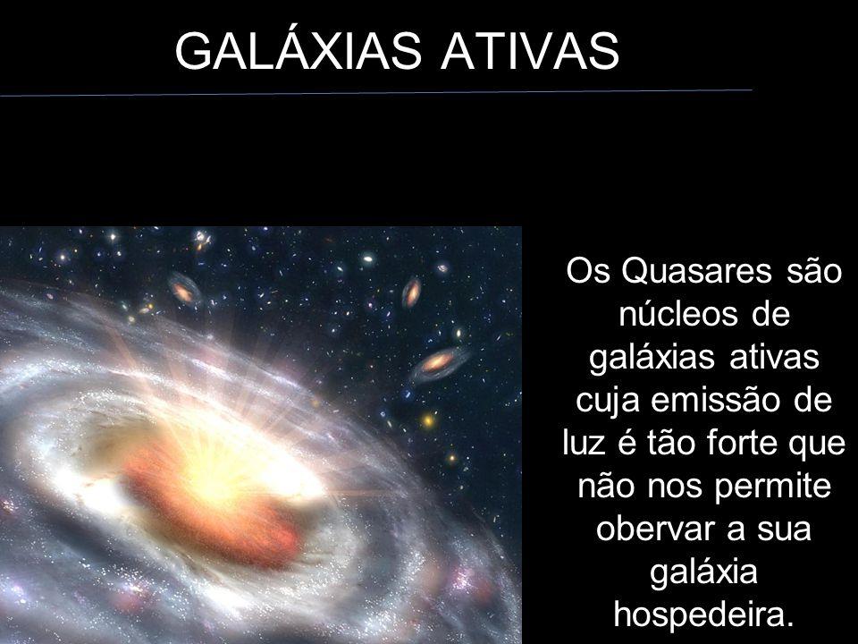GALÁXIAS ATIVAS Os Quasares são núcleos de galáxias ativas cuja emissão de luz é tão forte que não nos permite obervar a sua galáxia hospedeira.