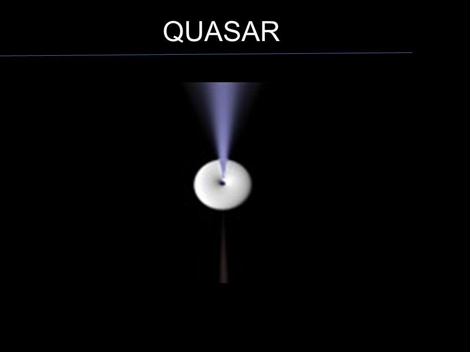 QUASAR No caso do quasar é como se estivéssemos olhando de perfil, para baixo, vemos o material em torno do núcleo e o jato emitido.