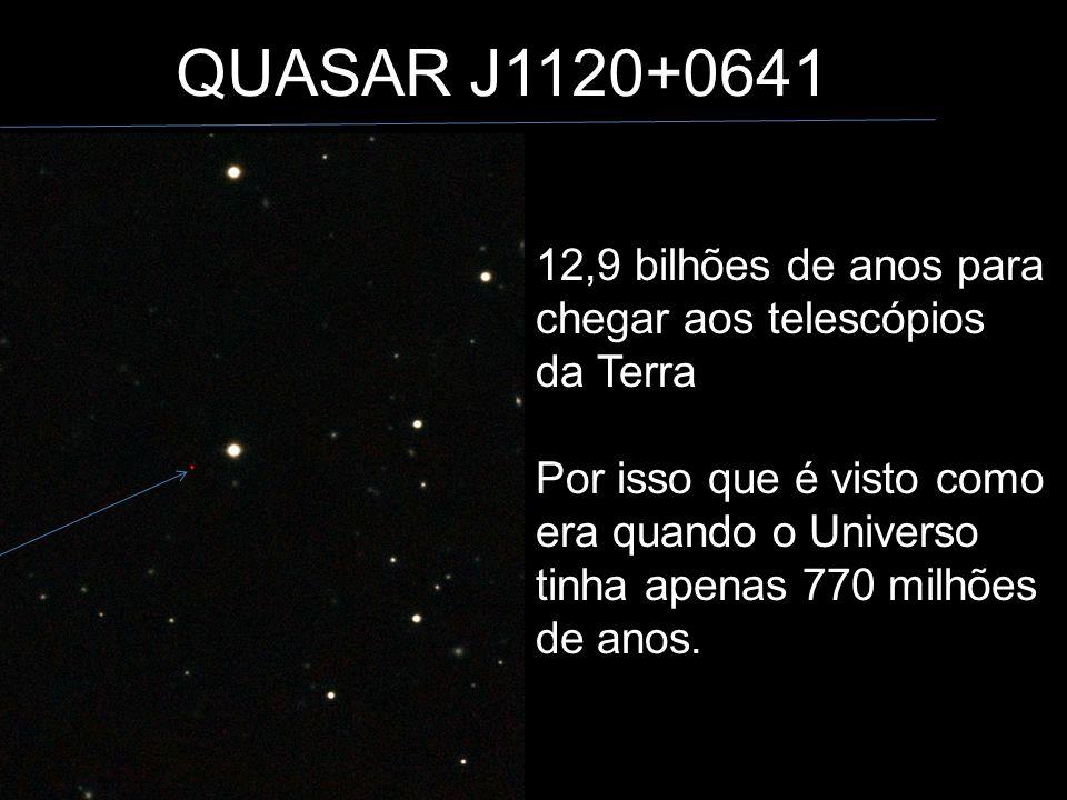 QUASAR J1120+0641 12,9 bilhões de anos para chegar aos telescópios da Terra.