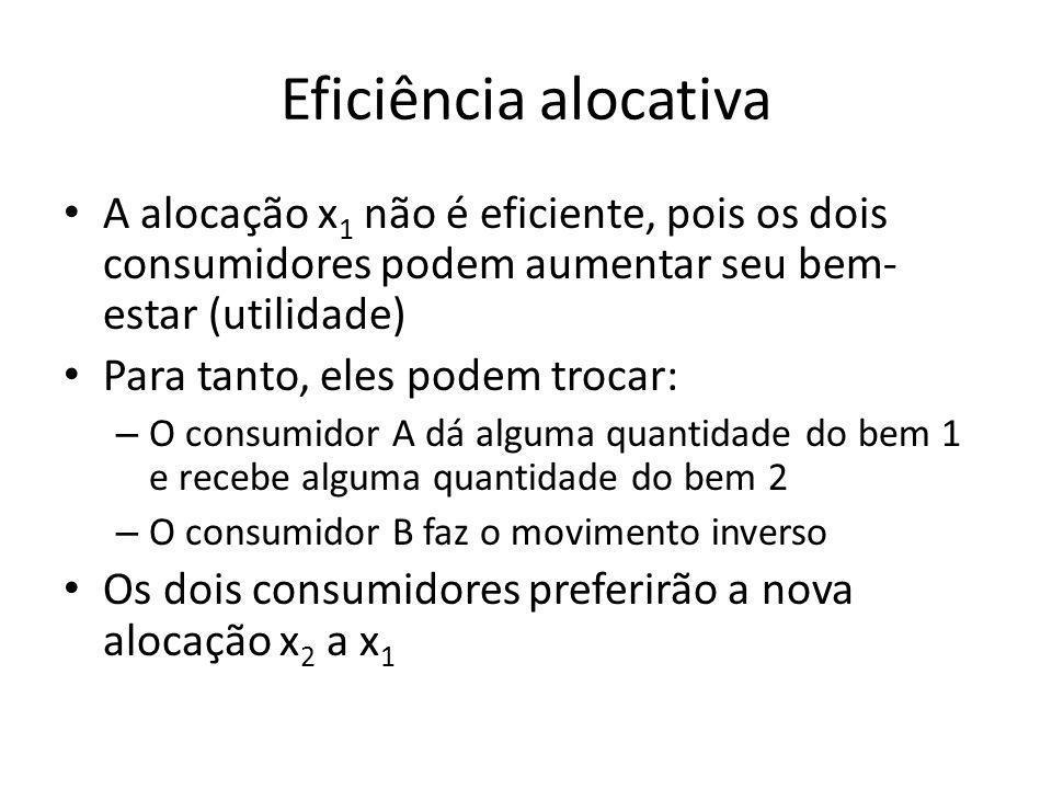 Eficiência alocativa A alocação x1 não é eficiente, pois os dois consumidores podem aumentar seu bem-estar (utilidade)