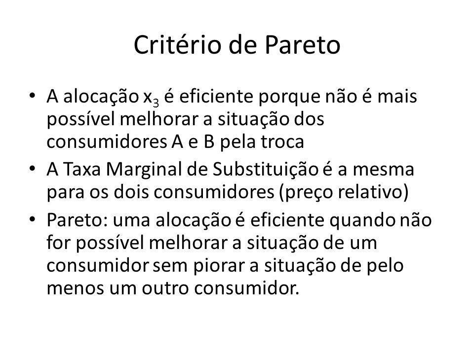 Critério de Pareto A alocação x3 é eficiente porque não é mais possível melhorar a situação dos consumidores A e B pela troca.