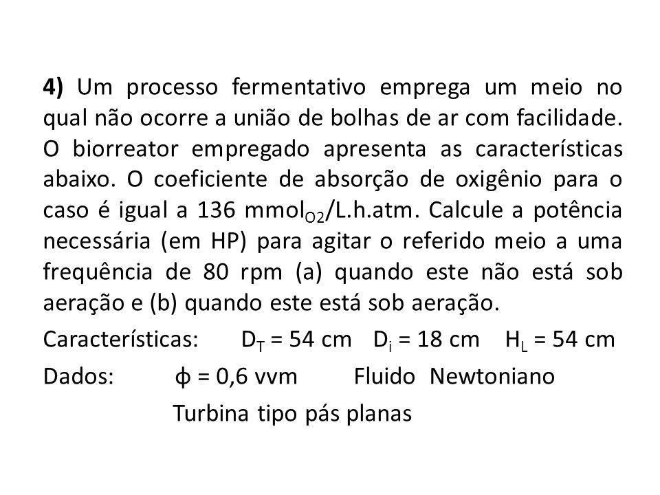 4) Um processo fermentativo emprega um meio no qual não ocorre a união de bolhas de ar com facilidade.