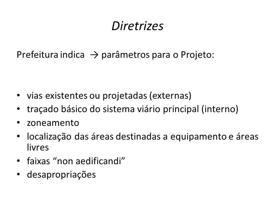 Diretrizes Prefeitura indica → parâmetros para o Projeto: