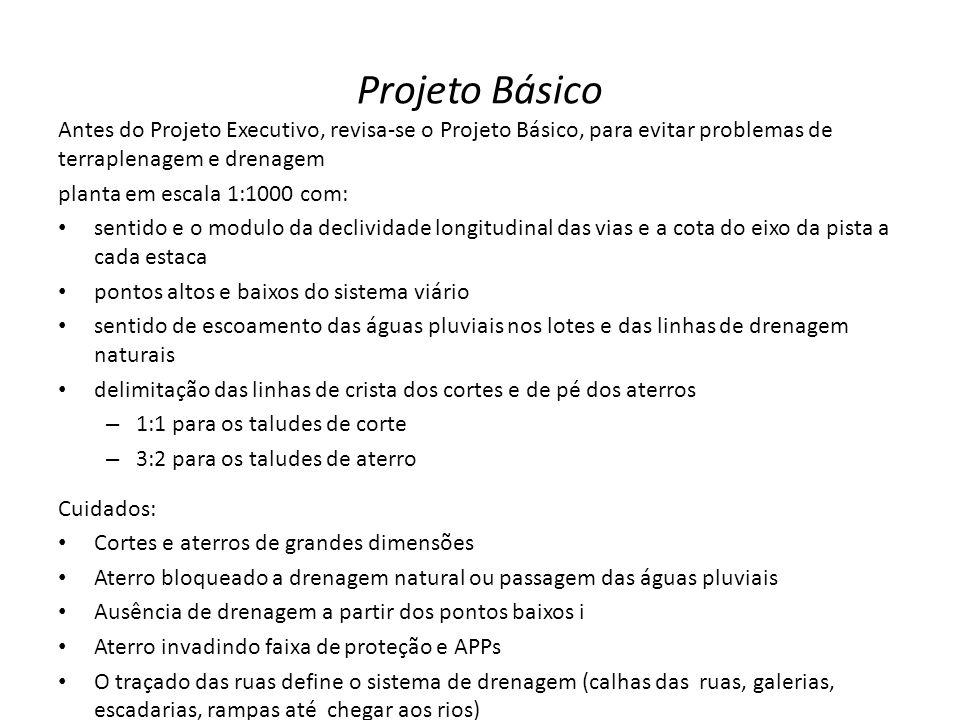 Projeto Básico Antes do Projeto Executivo, revisa-se o Projeto Básico, para evitar problemas de terraplenagem e drenagem.