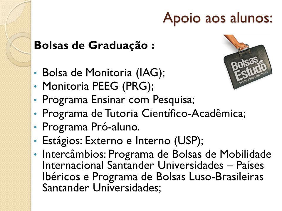 Apoio aos alunos: Bolsas de Graduação : Bolsa de Monitoria (IAG);
