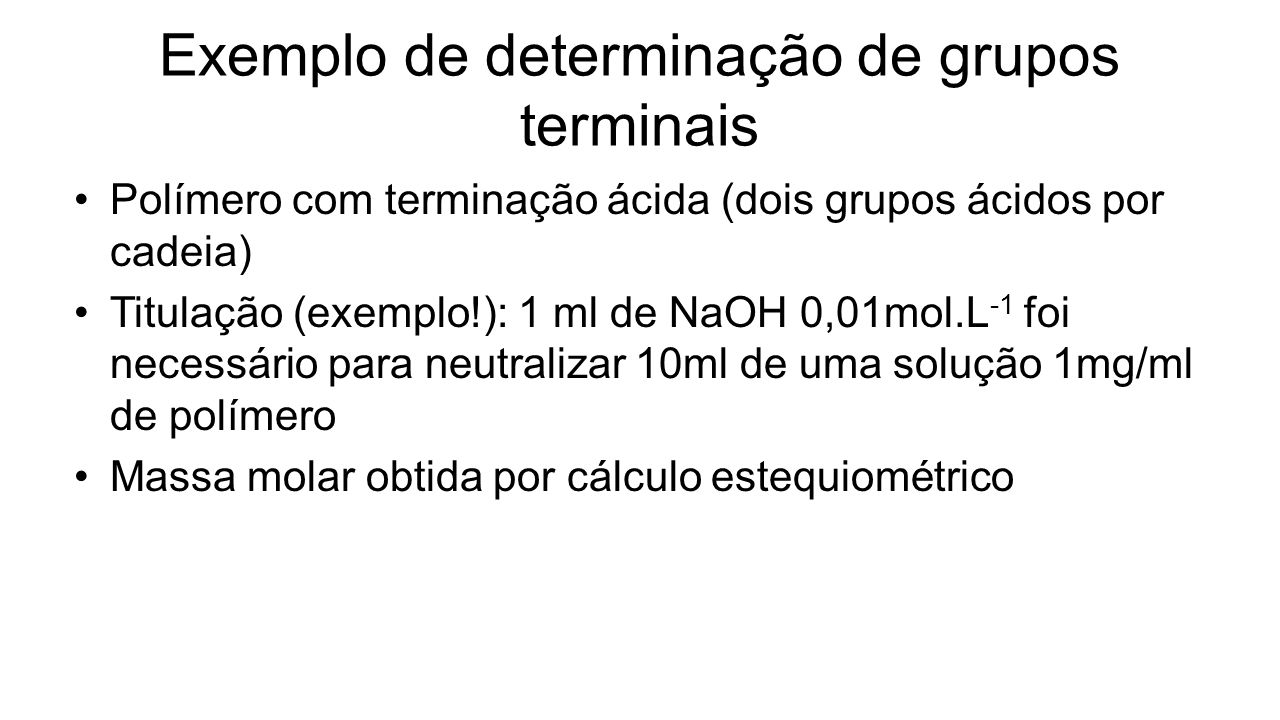 Exemplo de determinação de grupos terminais