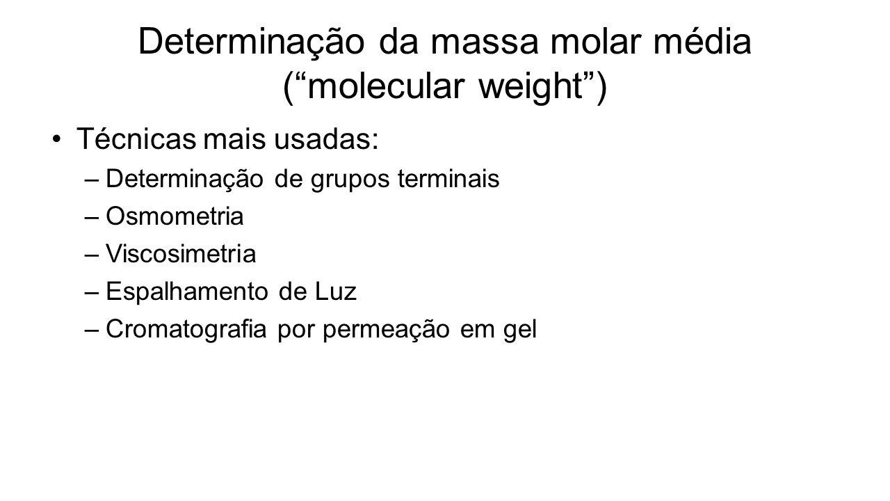 Determinação da massa molar média ( molecular weight )