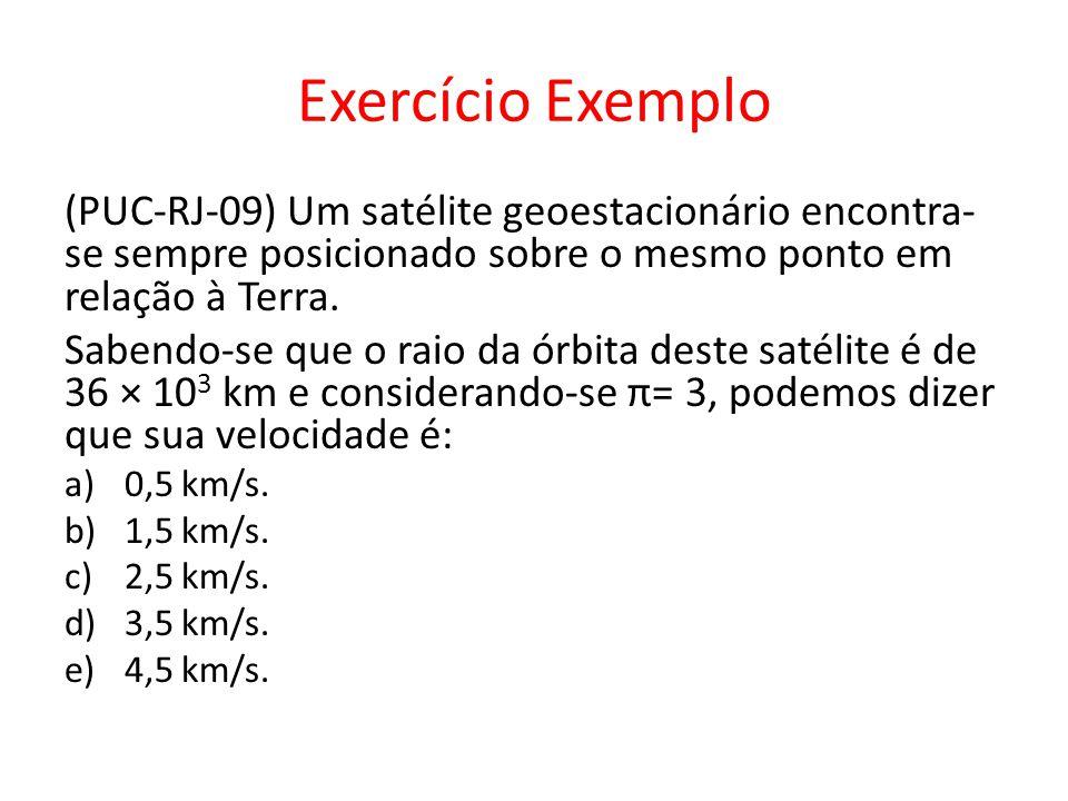 Exercício Exemplo (PUC-RJ-09) Um satélite geoestacionário encontra-se sempre posicionado sobre o mesmo ponto em relação à Terra.
