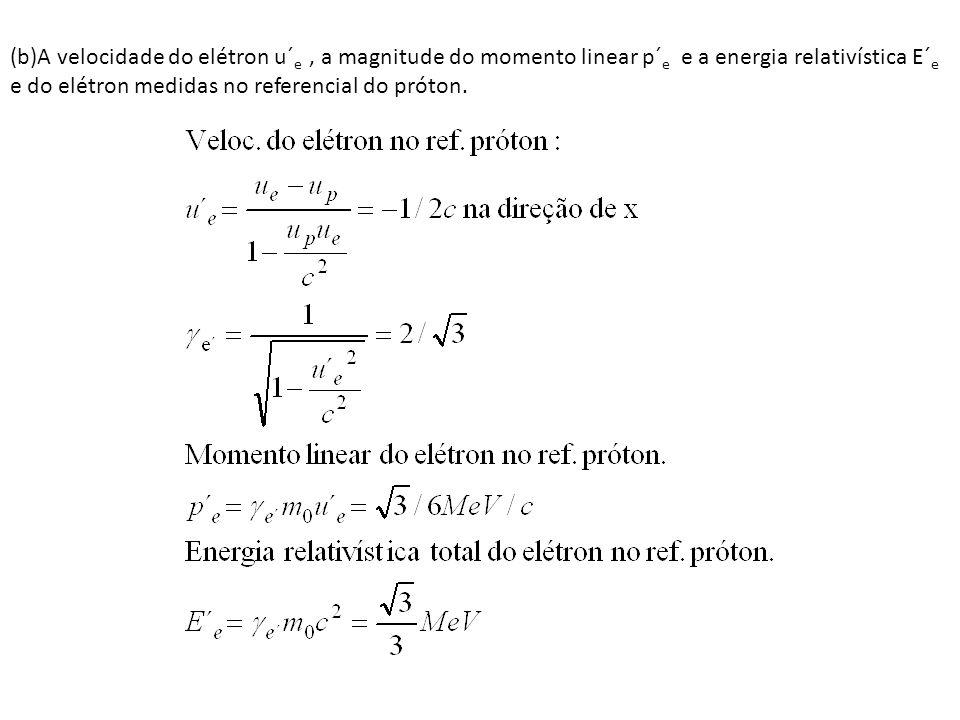 (b)A velocidade do elétron u´e , a magnitude do momento linear p´e e a energia relativística E´e e do elétron medidas no referencial do próton.