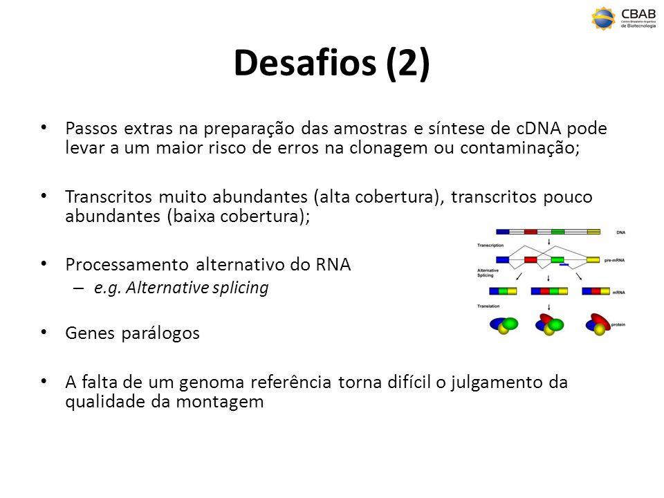 Desafios (2) Passos extras na preparação das amostras e síntese de cDNA pode levar a um maior risco de erros na clonagem ou contaminação;