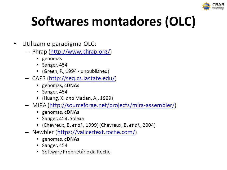 Softwares montadores (OLC)