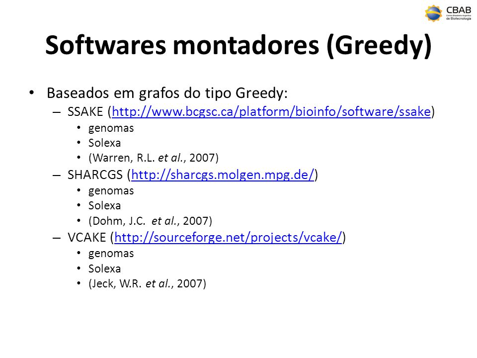 Softwares montadores (Greedy)