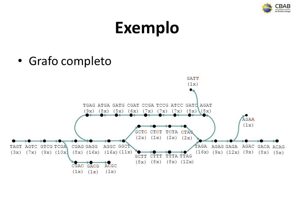 Exemplo Grafo completo GATT (1x) TGAG (9x) ATGA (8x) GATG (5x)