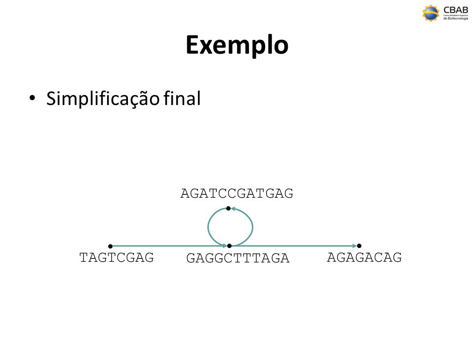 Exemplo Simplificação final AGATCCGATGAG TAGTCGAG GAGGCTTTAGA AGAGACAG