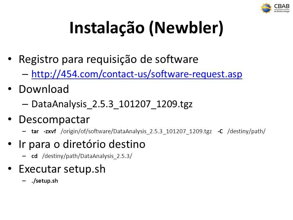Instalação (Newbler) Registro para requisição de software Download