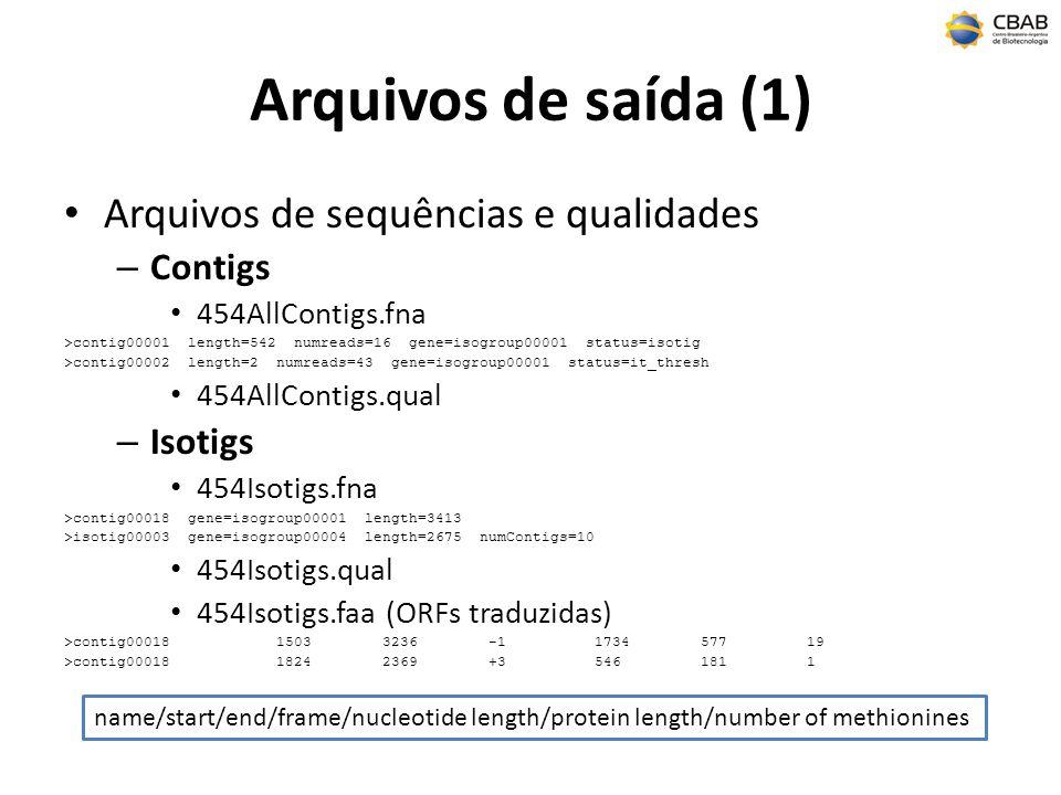 Arquivos de saída (1) Arquivos de sequências e qualidades Contigs